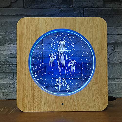 Jiushixw 3D acryl nachtlampje met afstandsbediening, kleur tafellamp, zwemmen, lijst, kunststof kind, geschenk make-uptafel, licht boot