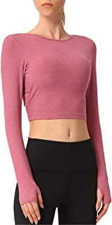 Women's Sexy Vest, Solid Color Long-Sleeved Round Neck Halter Stretch Sports Top, Tight-Fitting Chest Pad Sportswear,Pink,S