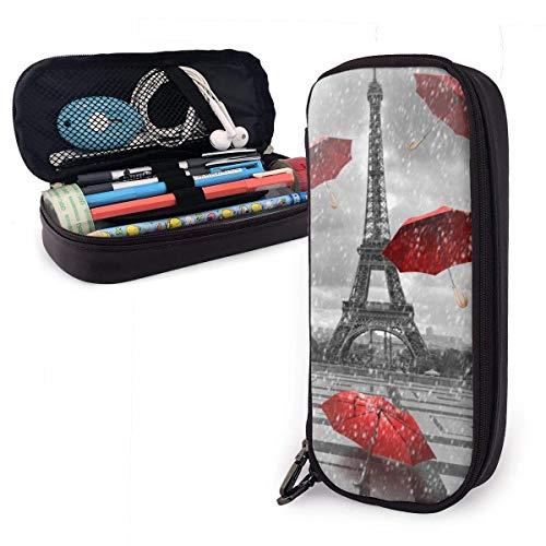 Eiffeltoren met vliegende paraplu's lederen etui rits pennenzak houder grote capaciteit potlood