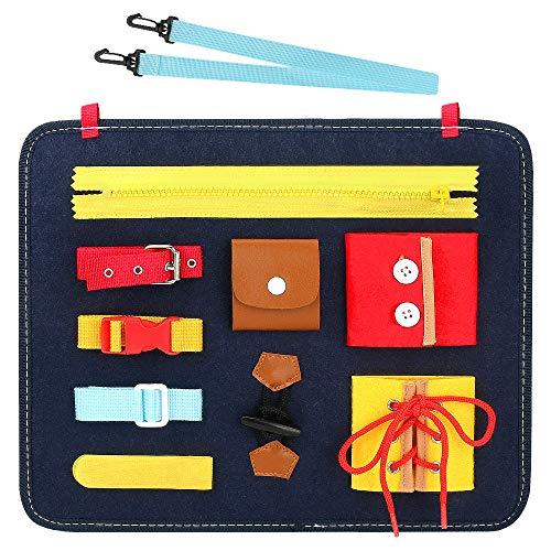 CestMall Beschäftigtes Brett für Kleinkinder Montessori-Aktivitätsbrett für Grundfertigkeiten für Feinmotorik und Lernen, mit 9 Fähigkeiten wie Reißverschlüssen, Knöpfen, Schnallen, Zöpfen usw.