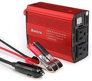 MaoTen Inversor de Potencia de 300 W (Potencia máxima: 600 W) DC 12 V a 110 V AC para Coche con Adaptador de Coche USB Doble 2.1 A