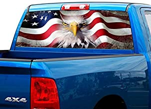 P423 American Flag Eagle Tint Rear Window Decal Wrap Graphic Perforated See Through Universal Size 65