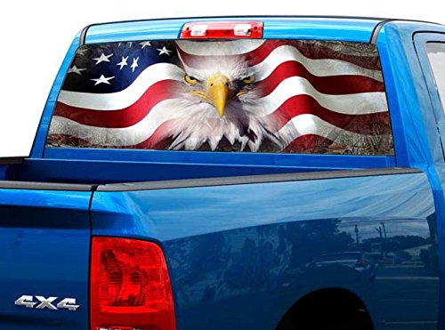 P423 American Flag Eagle Tint Rear Window Decal Wrap Graphic Perforated See Through Universal Size 65' x 17' FITS: Pickup Trucks F150 F250 Silverado Sierra Ram Tundra Ranger Colorado Tacoma 1500 2500