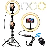 Selfie Ring Light, Swonuk Upgraded 10' LED Beauty Ringlight with Extendable Tripod Stand, 2 Phone Holders, 3 Light Modes, 10 Brightness for Makeup,TikTok,YouTube,Videos,Vlog,Live Streaming