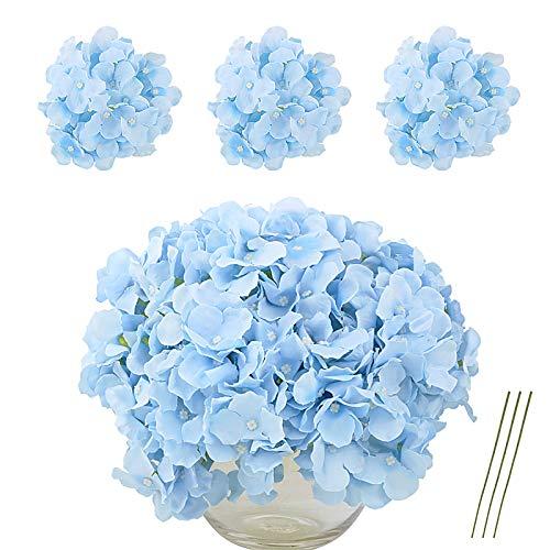 VINFUTUR Flores Artificiales Hortensia Azul de Seda, 10pcs Ramos de Flores Artificiales Decorativas de Jarrón Mesa+10pcs Tallos Verdes Flores Falsas para Hogar Fiesta Boda Manualidad DIY