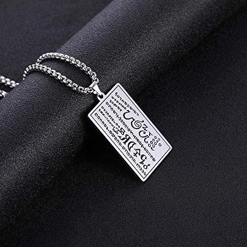 WYDSFWL Collar Mujer Hombre Moda Personalizada Escritos hebreos Palabras Collar Hombres Caja Cuadrada Cadena de eslabones joyería Punk Collar de Acero Inoxidable