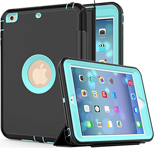 SAYMAC iPad Mini 1/2/3 Case, 3-Layer Heavy Duty Protection Rugged Shockproof Protective Tough Case with Trifold Stand Smart Auto Wake/Sleep Cover for iPad Mini 1st/2nd/3rd Generation(Black/Light Blue)