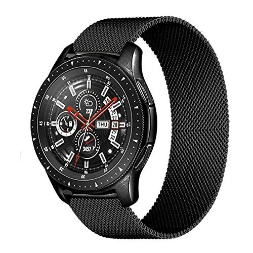LLMXFC Correa magnética de 20 mm/22 mm para Samsung Galaxy Watch 3, 45 mm, 41 mm/Active 2 46 mm/42 mm Gear S3 pulsera Huawei GT/2/2e (Color de la correa: negro 1, tamaño: Active2 40 mm 44 mm)