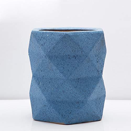 Thwarm, extra grote Europese keramische bloempot designer Origami container plant patio pot keramiek vetplant bloempotten met onderzetter voor balkon kantoor vloer, 27 * 28cm, Blauw