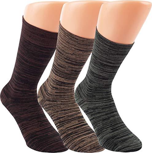 by Riese 3-15 Paar Bambus Socken MELANGE natur Bambussocken Softrand ohne Gummi Damen Herren (3, 35/38)