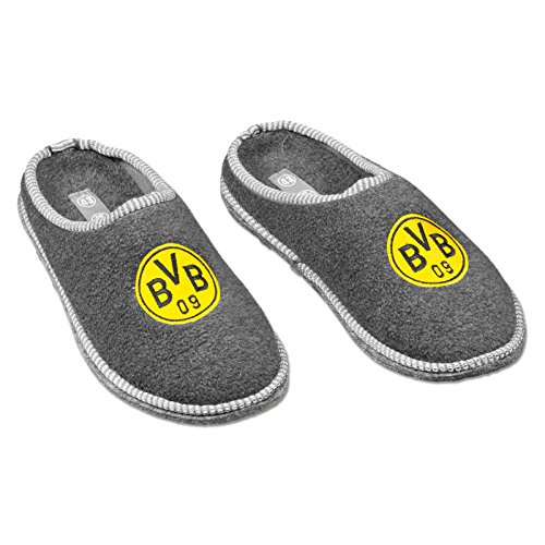 Borussia Dortmund, BVB-Filzpantoffeln, Grau Silbergrau, 46/47