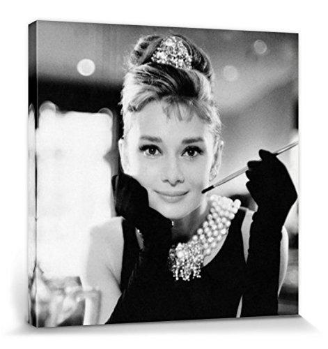 1art1 Audrey Hepburn - Frühstück Bei Tiffany S/W Bilder Leinwand-Bild Auf Keilrahmen | XXL-Wandbild Poster Kunstdruck Als Leinwandbild 40 x 40 cm