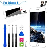 FLYLINKTECH Ecran LCD Vitre pour iPhone 6 Blanc avec Outils Bouton Home Écouteur Interne Caméra De...