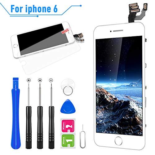 FLYLINKTECH Pantalla para iPhone 6 4.7 '',Táctil LCD de Repuesto Ensamblaje de Marco Digitalizador con botón de Inicio,cámara Frontal,Sensor de proximidad,Altavoz y Herramientas (Blanco)