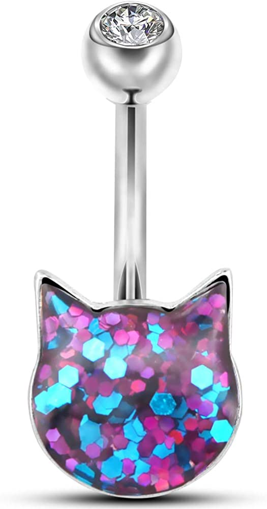OUFER 14G Belly Button Rings Pink Cat Teal Navel B Seasonal Award-winning store Wrap Introduction Sparkle