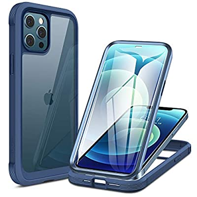 Miracase Glass+ Case for iPhone 12/ iPhone 12 Pro 6.1 inch, 2020 Full-Body Clear Bumper Case with Built-in 9H Tempered Glass Screen Protector for iPhone 12/ iPhone 12 Pro