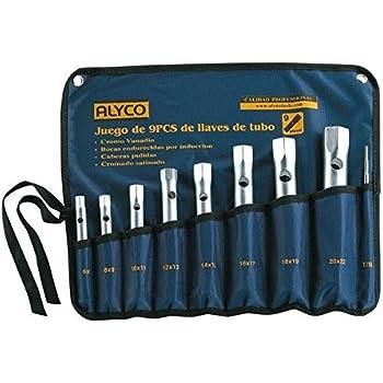 Alyco 191480 Juego 9 llaves de tubo hexagonales Cr-V bocas forjadas UNE 16586 en estuche plastico