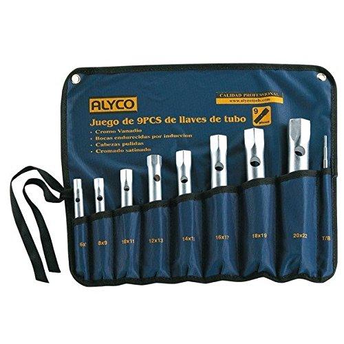 Alyco 191570 - Juego 8 llaves de tubo estampadas satinado mate UNE 16586 en bolsa de...