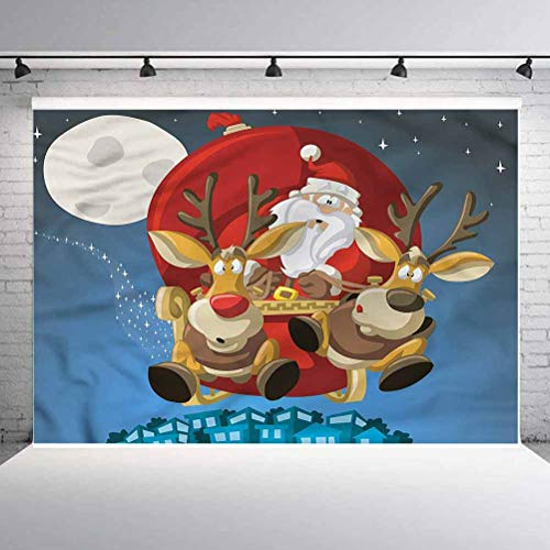 8x8FT Vinyl Backdrop Photographer,Christmas,Santa on Sleigh Rudolf Photo Backdrop Baby Newborn Photo Studio Props