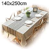 Nordira - Mantel rectangular de poliéster resistente al aceite, a cuadros, con borlas, para decoración del hogar o la cocina, poliéster, gris, 90 x 90 cm