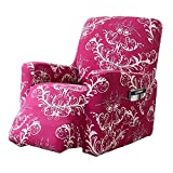 R&P 1 Piece Stretch Recliner Slipcover Floral Printed Recliner Cover Non Slip Couch Sofa Cover Washable Furniture Protector for Living Room,Red