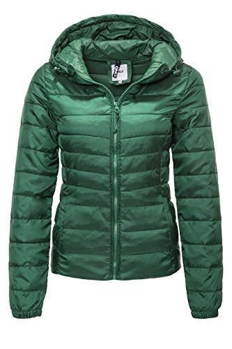 ONLY Damen Steppjacke Übergangsjacke Kapuzenjacke Leichte Jacke (XS, Hunter Green)