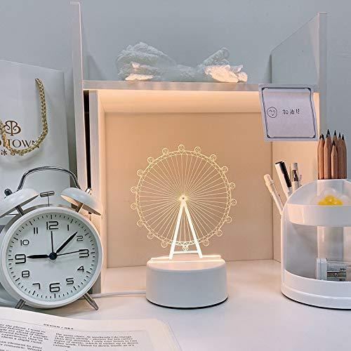3D fantasía creativa llevó la noche luz lámpara de noche dormitorio acrílico novedad,Rueda de la Ferris,USB tricolor