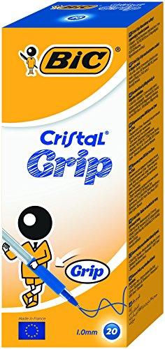 Bic Cristal Grip Penne a Sfera, Punta Media 1.0 mm, Confezione 20 Penne, Colore Blu, Fornitura per Casa e Ufficio
