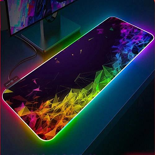 Alfombrilla de ratón RGB con diseño de Diamante Negro, Costura de precisión de Varios tamaños, LED de Malla de Diamante con Puerto USB, portátil, Oficina, 900x400x4 mm