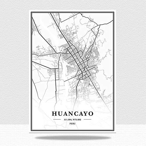Cuadro En Lienzo,Perú Huancayo City Maps Wall Art Picture, Blanco Y Negro Arte Minimalista Mural No Tejido, Pintura Moderna Sin Marco, Sala De Estar Dormitorio Decoración del Hogar, 20 * 30 Cm