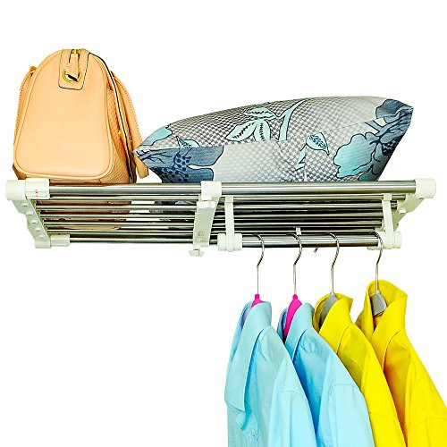 BAOYOUNI Extendable Closet Shelf Rod Clothes Hanger Organizer Heavy Duty Metal Storage Rack DIY Separator Divider (55-90cm)