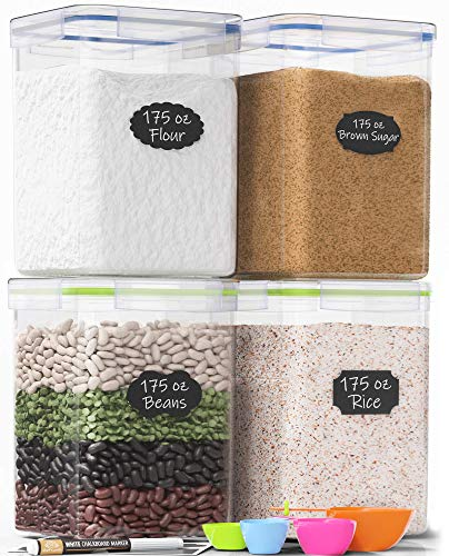 Read About Extra Large Tall Food Storage Containers 175oz, For Flour, Sugar, Baking Supplies - Airti...
