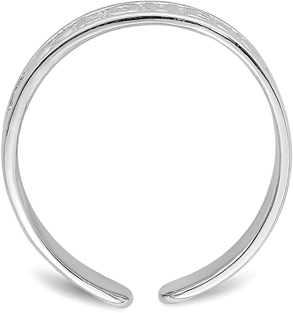 Solid 14k White Gold LOVE and Hearts Toe Ring Adjustable