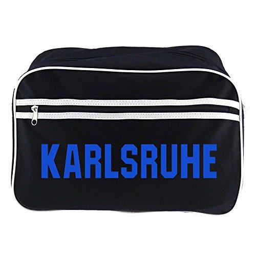 Retrotasche Schriftzug Karlsruhe schwarz