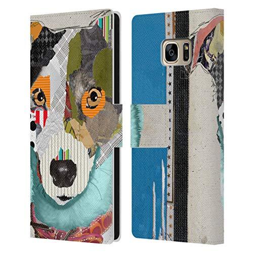 Head Case Designs Licenciado Oficialmente Michel Keck Jack Rusell Perros Carcasa de Cuero Tipo Libro Compatible con Samsung Galaxy S7 Edge