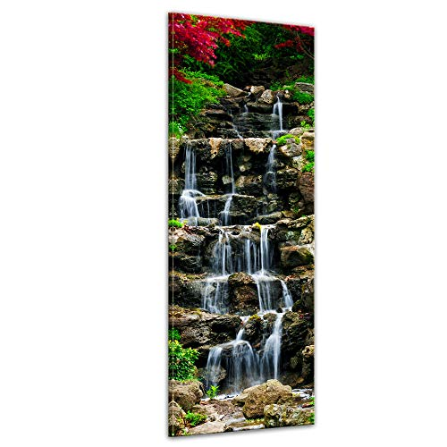 Bilderdepot24 Bild auf Leinwand   Wasserfall II in 40x120 cm als Panorama Wandbild XXL   Wand-deko Dekoration Wohnung modern Bilder   201719