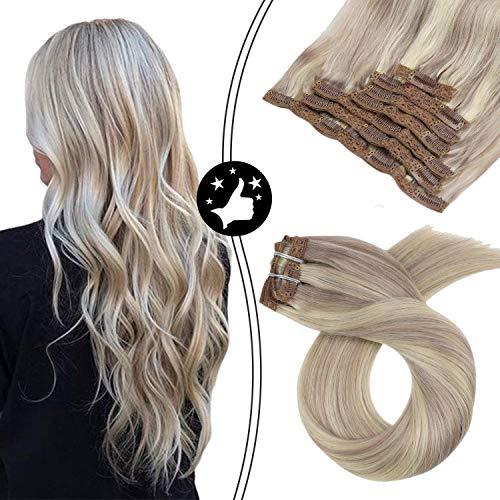 Moresoo 16 pouces Clip in Extension de Cheveux Naturel Couleur de Piano #18 Blond Cendré Foncé avec #613 Bleach Blond Extension a Clip Cheveux Lisse N