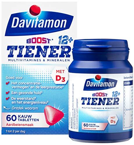 Davitamon Multi Boost 12+ Kauwvitamines - multivitamine speciaal is ontwikkeld voor jongeren vanaf 12 jaar - aardbeiensmaak - 60 tabletten