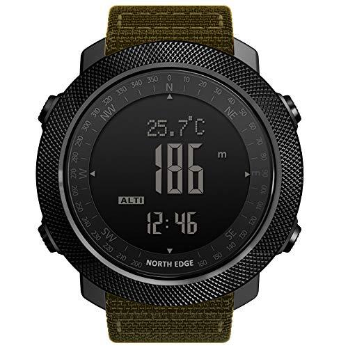 YPSMCYL Reloj Inteligente para Deportes Al Aire Libre North Edge Apache Reloj Multifunción De Natación para Montañismo De Metal Completo,Khaki