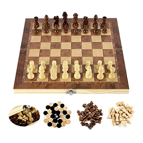 W.Z.H.H.H Schachbrett Schach Neue Faltbare hölzerne Backgammon Checkers Reisespiel Schach Set Board Entertainment Entertainment Portable Board Spiel (Color : Braun, Size : 39CM Chess Board)
