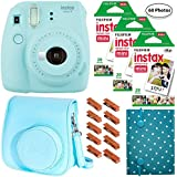 Fujifilm Instax Mini 9 (Ice Blue), 3X Instax Film (60 Sheets), Groovy Case, Accordion Album and Hanging Pegs