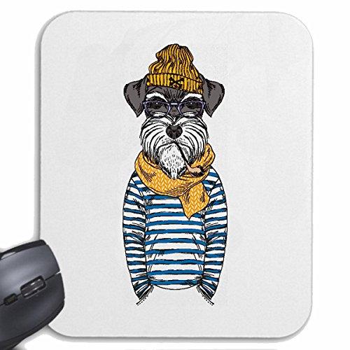 Mousepad alfombrilla de ratón Schnauzer miniatura divertido en uniforme de marinero CRIADOR SCHNAUZER cabelludo áspero casa de perro raza Schnauzer Miniatura PERRITO para su portátil, ordenador portá