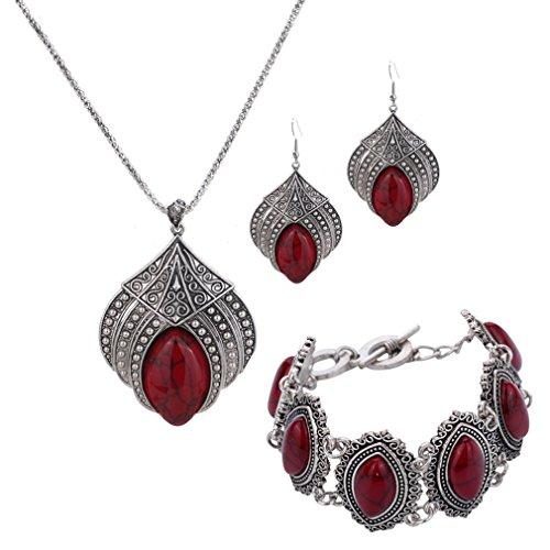 YAZILIND Pendientes de la Gota La joyería Fija el Collar Plateado Plata Pendiente de la Flor de la Garra Rojo Turquesa Retro Pulsera con Encanto para el Regalo de Las Mujeres