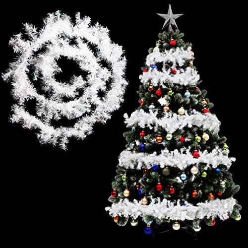 BELLE VOUS Ghirlanda Natalizia per Albero di Natale in Pino - Festone Natalizio Bianco da 270cm - Festone per Albero di Natale, Decorazioni Natale Scale e Caminetti - Ghirlanda Albero Natale Bianca