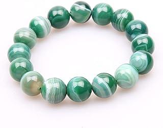 FG Jewels Bracelet Hommes/Femmes Bracelet Pierre Naturelle Lithothérapie Agate Verte Perles 8mm Bracelet Bien-Etre Bracele...