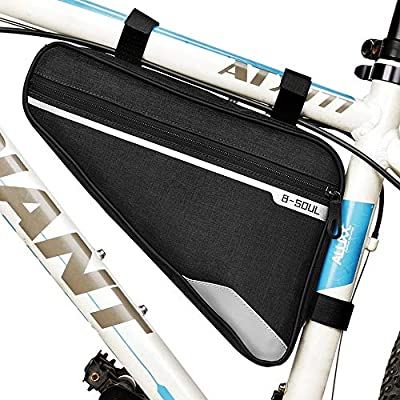 opamoo Bike Bicycle Triangle Frame Bag - Reflective Bicycle Storage Bag Water Resistant Cycling Pack Strap On Saddle Pouch Bike Accessories for Road Mountain Cycling (Bicyle Bag -1) (Bicyle Bag -1)