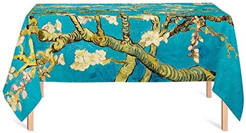 ZXL tafelkleed, bedrukt, planten, boom, blauw, restaurant, eettafel, woonkamer, restaurant, tafelkleed, lengte 85-240 cm (afmetingen: 140 x 100 cm)