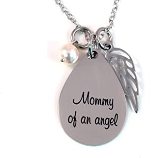 Mommy of an Angel Necklace with Simulated Pearl and Angel Wing - Stainless Steel