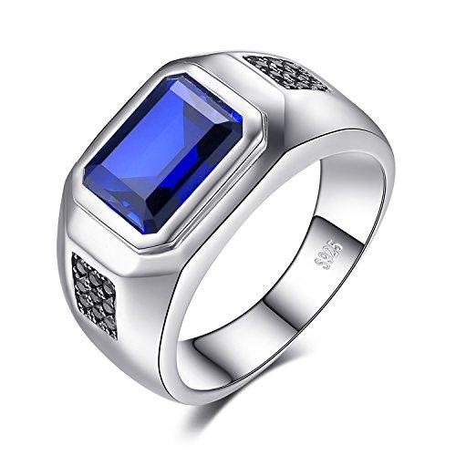 JewelryPalace Uomo 4.3ct Sintetico Blu Zaffiro Naturale Nero Spinello Anniversario Matrimonio Anello Genuino 925 Sterling Argento 28
