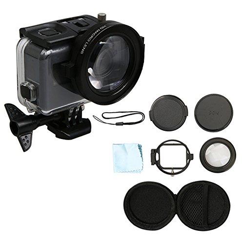 Hzjundasi 58mm Nahaufnahme Makro Objektiv 16X Vergrößerung für GoPro Hero 6/Hero 5 Black Kamera Gehäuse Hülle, HD Close-Up Filter Makro-Objektiv 16X Vergrößerung + Adapter Ring Kamera Zubehör